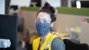 Multnomah County employee wearing a mask