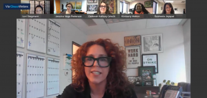 Stacy Chamberlain speaks to the Board in a virtual meeting