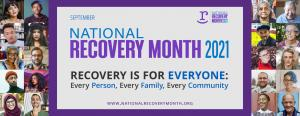"""A banner reading """"Recovery Month"""" with images of smiling faces on the left and right"""