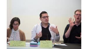 Q Center executive co-director Justin Pabalate, center, speaks during a dinner and listening session with Multnomah County Chair Deborah Kafoury on March 18, 2017.
