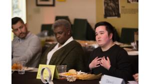 Stephanie Ng Ping Cheung of Bradley Angle, right, speaks during a dinner and listening session with Multnomah County Chair Deborah Kafoury on March 18, 2017.