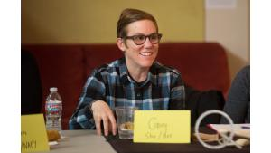Casey Filice of the Multnomah Idea Lab speaks during a dinner and listening session with Multnomah County Chair Deborah Kafoury on March 18, 2017.