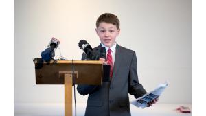 Jeremy Clark, 12, speaking on climate change.