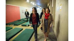 Multnomah County Chair Deborah Kafoury, District 3 Commissioner Jessica Vega Pederson and District 1 Commissioner Sharon Meieran tour the Columbia Shelter's new home in the Shleifer Furniture building April 17.