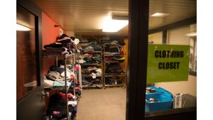 A view inside the Columbia Shelter's new home inside the Shleifer Furniture building on Monday, April 17.