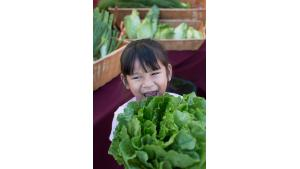 Delylah Thilavan, 4, hides behind a head of lettuce before taking a bite.