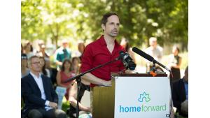Home Forward director Michael Buonocore speaks during a housing rally July 28, 2017.