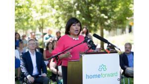 Commissioner Loretta Smith speaks during a housing rally July 28, 2017, in her district.