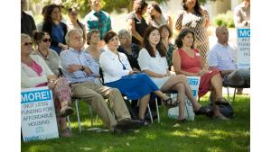 Participants at a housing rally Friday, July 28, 2017, in McCoy park included Commissioner Sharon Meieran and Commissioner Jessica Vega Pederson.