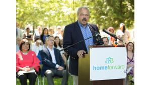State Sen. Lew Frederick speaks at a housing rally July 28, 2017, in his district.