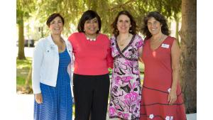 From left, Commissioner Jessica Vega Pederson, Commissioner Loretta Smith, Chair Deborah Kafoury and Commissioner Sharon Meieran at a housing rally July 28, 2017, at New Columbia.