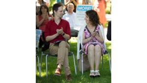 Chair Deborah Kafoury and Home Forward director Michael Buonocore at a housing rally, July 28, 2017.
