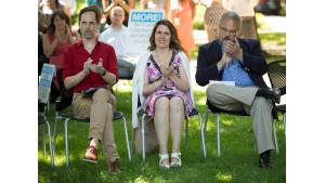 Chair Deborah Kafoury, center, State Sen. Lew Frederick, right, and Home Forward director Michael Buonocore at a housing rally, July 28, 2017.