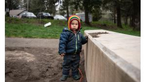 Bohdan Wasiutynski, 22 months, joined his dad, John, director of the Multnomah County Office of Sustainability.