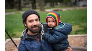 John Wasiutynski, director of the Multnomah County Office of Sustainability, brought his son Bohdan to plant trees at Nadaka Nature Park.