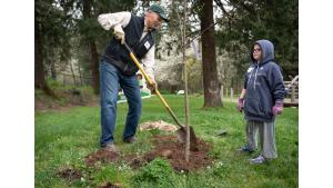Volunteer Jim Buck shows Harper Paramchuk, age 7, how to plant a tree