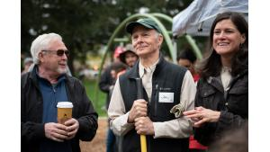 Gresham resident Jim Buck, center, joins city council member Kirk French and natural resources planner Tina Osterink at Nadaka Park