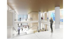 Rendering of courthouse with view of lobby from 3rd floor