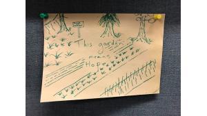 """""""This garden means hope,"""" handwritten on sketch"""