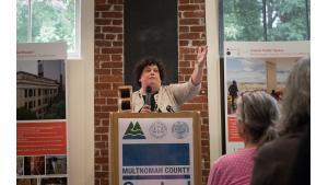 Multnomah County Presiding Judge Nan Waller speaks at groundbreaking ceremony
