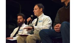 Dr. David Farrer of DEQ answers a question at Tuesday's community meeting on air quality in Southeast Portland.
