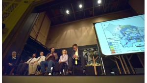 From left, Multnomah County and state of Oregon experts Jae Douglas, Matt Hoffman, Dr. David Farrer, Dave Monro, Sarah Armitage and Geoff Donovan listen and respond to community concerns.