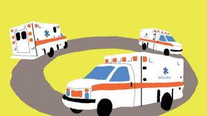 Drawn image of an ambulance going in circles.