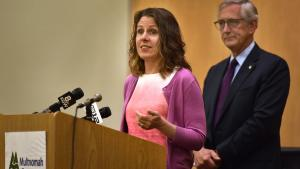Chair Kafoury speaks at Wednesday's press conference announcing the new homeless shelter at the Hansen Building.