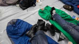Scene from a warming shelter