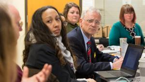 From left: Rachael Banks of the Multnomah County Health Department, Rep. Earl Blumenauer,  District 3 staffer Ana del Rocío Valderrama, District 4 staffer Rebecca Stavenjord and Robyn Johnson of the Department of County Human Services