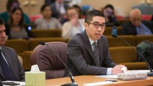 Michael Hsu, a lawyer with the Metropolitan Public Defender Services, speaks in support of funding for legal eduation
