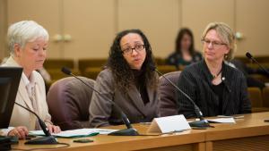 Joanne Fuller, Health Department Director; Rachael Banks, Deputy Public Health Director; and Jae Douglas, Environmental Health Director brief the board April 13 on pending legislation on the legal smoking age