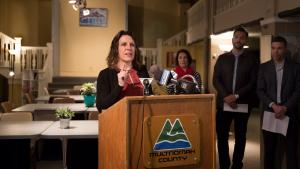 Multnomah County Chair Deborah Kafoury speaks Monday, April 17, at the opening of the new home of the Columbia shelter, in the Shleifer Furniture building.