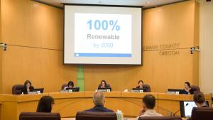 The Multnomah County Board voted unanimously on Thursday, June 1 to commit the county to reaching its goal of 100 percent renewable energy use community-wide by 2050.