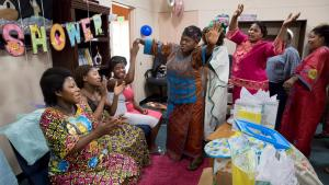 Congolese Women's Group, launched this summer through Mid County Health Center, celebrate four mothers about to give birth.