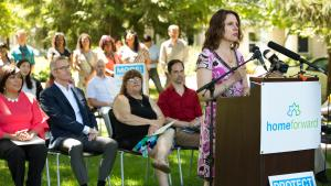 Multnomah County Chair Deborah Kafoury speaks at a housing rally, Friday, July 28, 2017, while Commissioner Loretta Smith, Mayor Ted Wheeler and others look on.