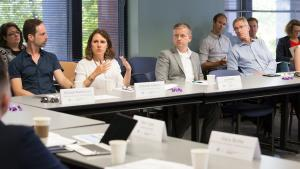 At the table, from left, Home Forward director Michael Buonocore, County Chair Deborah Kafoury, Gresham senior manger Joe Walsh and Portland Mayor Ted Wheeler attend A Home for Everyone's Executive Committee meeting Aug. 21, 2017.