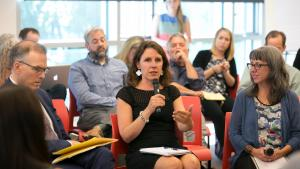 Chair Deborah Kafoury, center, with Portland Commissioner Nick Fish, left, and Heather Lyons of CSH at a summit Sept. 14, 2017, on supportive housing.