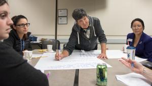 Linda VanDeusen-Price, a member of the North Gresham Neighborhood Association, attends a meeting on opioid use