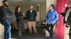 Chair Deborah Kafoury visits the vacant Budget Lodge motel, undergoing renovations to house people with mental illness.