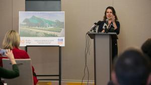 Chair Deborah Kafoury speaks at the Oregon Harbor of Hope shelter announcement April 10, 2018.