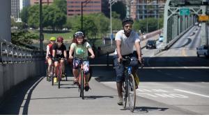 Bike riders on the Hawthorne Bridge in 2018