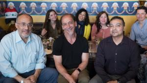 """Wajdi Said, cofounder of the Muslim Educational Trust, stops for a weekly lunch before the month of Ramadan with Ronault """"Polo"""" Catalani and Aasim Ikramullah, a broker at Guidance Residential."""