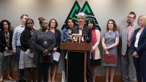 Kim Toevs, director of Youth Sexual Health Equity, announces the lawsuit to protect sex ed