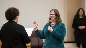 Jennifer McGuirk takes the oath of office as Multnomah County Auditor