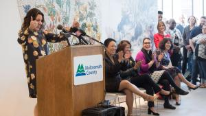 Chair Deborah Kafoury celebrates the completion of the Health Department Headquarters.