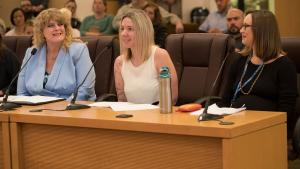 From left: IDEA Employee Resource Group members Ashley Carroll and Jill Jesse and Alison Sachet, Ph.D. of the Department of County Management