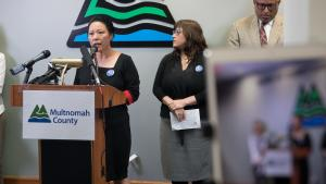 Commissioner Lori Stegmann was joined by Portland City Commissioner Chloe Eudaly and reps from Unite Oregon, Latino Network, the Coalition of Communities of Color and more.