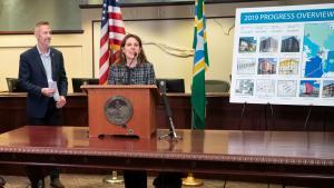 Chair Deborah Kafoury speaks alongside Mayor Ted Wheeler at Portland City Hall on Sept. 17, 2019.