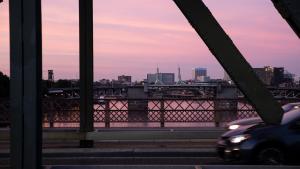 Hawthorne Bridge view at sunset.